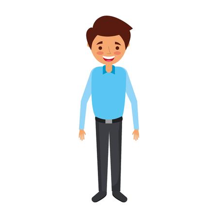 Young man smiling cartoon vector illustration Illustration