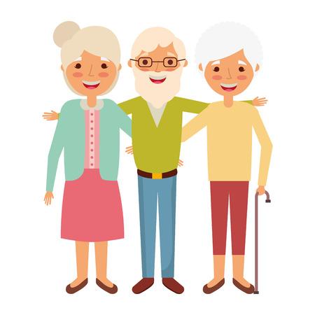 Oude man met samen en vrouwen die vectorillustratie omhelzen glimlachen