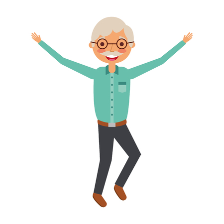Old man character standing vector illustration