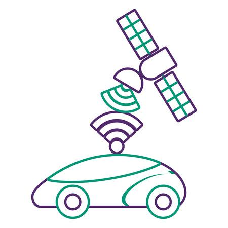 Gps navigation satellite helping car to its destination vector illustration Ilustrace