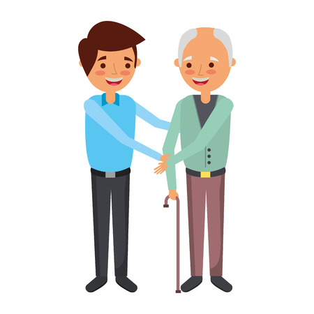 young man with old man holding hands standing vector illustration