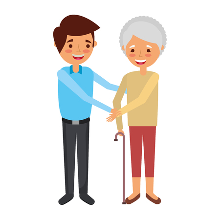 Grandma with young man holding hands vector illustration