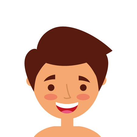 Portrait of a young man happy character vector illustration