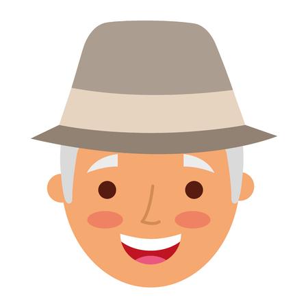 Profile avatar of the grandfather vector illustration Stock Illustratie