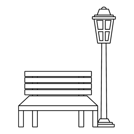 Bench and lamp park decoration elements vector illustration Иллюстрация