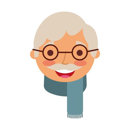 祖父のベクトル図の顔古い男プロフィール アバター