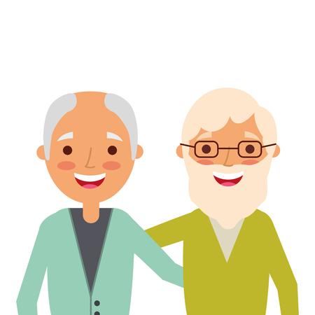 Portrait of older men friends embracing happy vector illustration