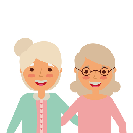Portrait of elderly women frinds together embracing happy vector illustration Illustration
