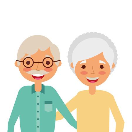Retrato de la pareja de ancianos abrazando feliz adorable vector illustration Foto de archivo - 90301481