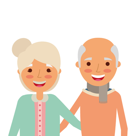 Portrait of elderly couple embracing happy adorable vector illustration