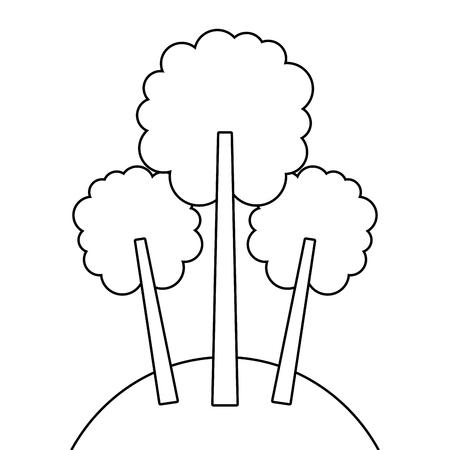 세 나무 단풍 숲 공원 자연 초원 벡터 일러스트 레이 션