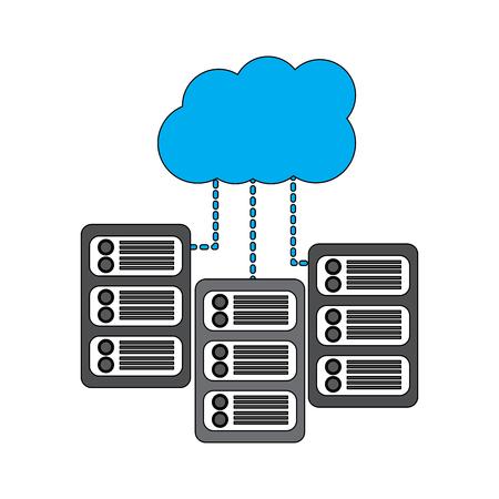 Server with cloud storage web hosting icon image vector illustration design