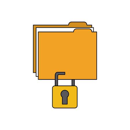 File folderw with safety lock icon image vector illustration design