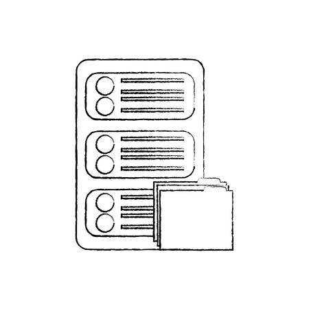 server with file folder web hosting icon image vector illustration design