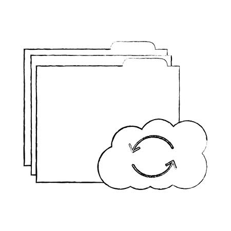 file folder with cloud storage icon image vector illustration design