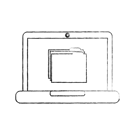File folder on laptop screen icon image vector illustration design