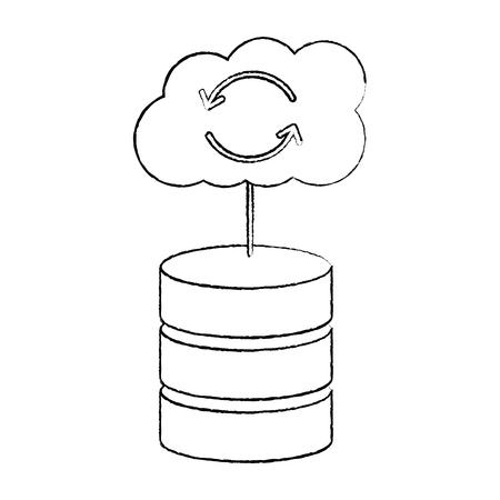 Database with cloud storage data center icon image vector illustration design