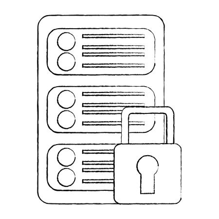 Server security safety lock web hosting icon image vector illustration design