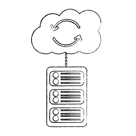 server with cloud storage web hosting icon image vector illustration design Illustration