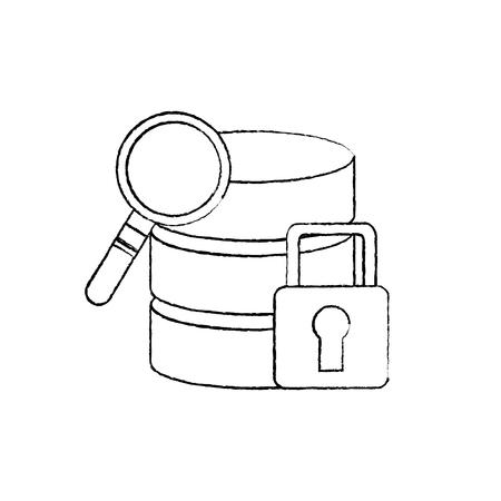 Base de données de recherche de données financière centre de données icône image vectorielle illustration Banque d'images - 90308243