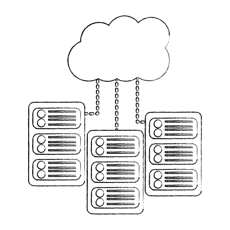 Server with cloud storage web hosting icon image vector illustration design