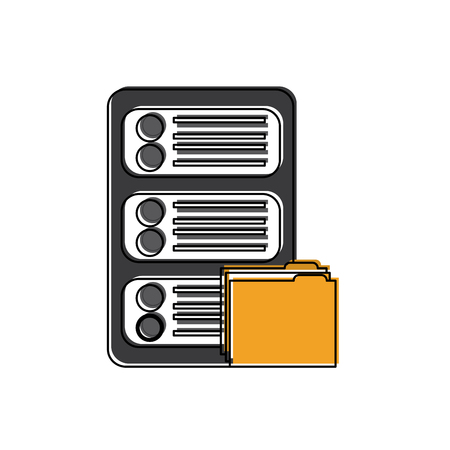 Server with file folder web hosting icon image vector illustration design