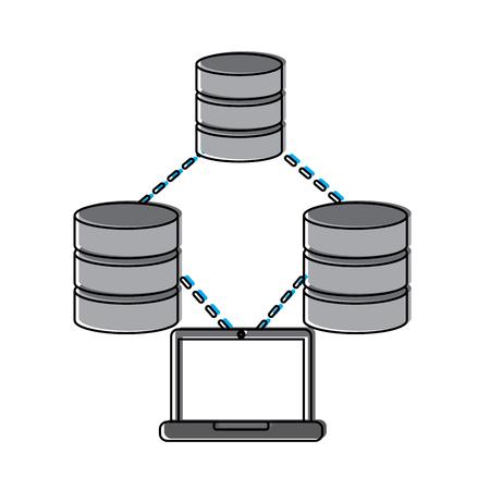 databases with laptop data center icon image vector illustration design Illustration