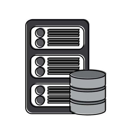 server with database web hosting icon image vector illustration design