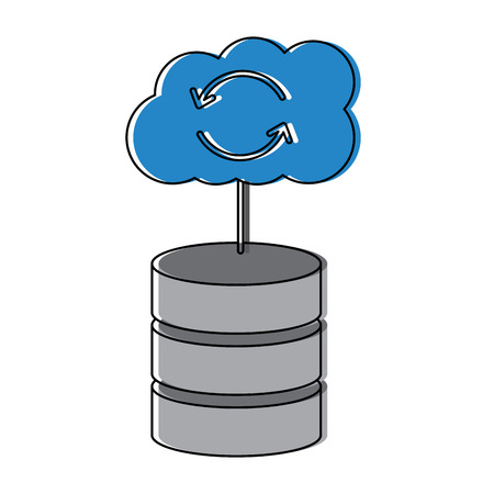web hosting server with internet cloud storage computing network connection sign vector illustration