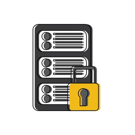 Sécurité réseau de données de centre de données numérique illustration vectorielle Banque d'images - 90312007