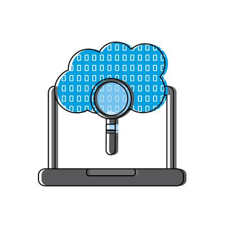 노트북 구름 이진 검색 프로세스 저장 정보 벡터 일러스트 레이션