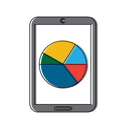 Mobile statistic diagram chart vector illustration Illusztráció
