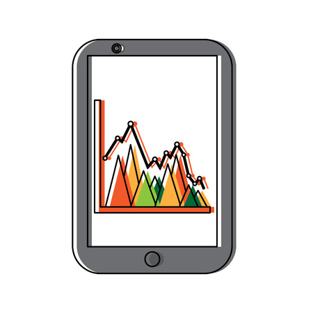 Mobile business graph chart vector illustration