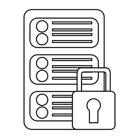 Sécurité réseau de données de centre de données numérique illustration vectorielle Banque d'images - 90326402