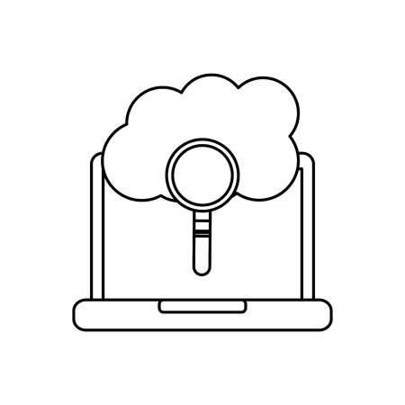 laptop cloud binary search process storage info vector illustration 向量圖像