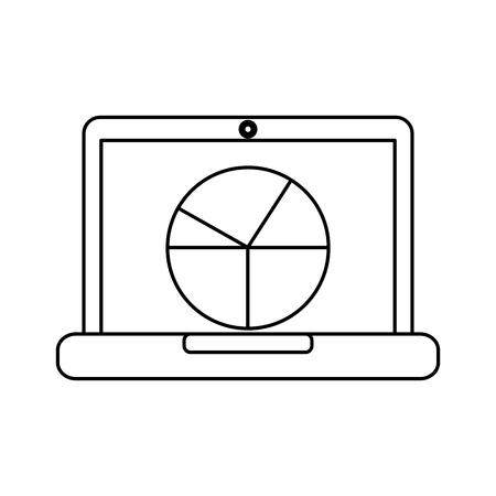 ラップトップ コンピューター画面図グラフ統計事業ベクトル図  イラスト・ベクター素材