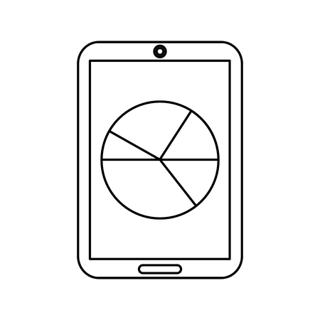 mobile statistic diagram chart device technology vector illustration