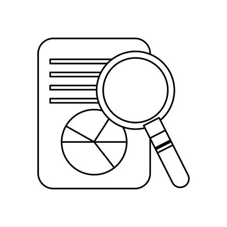 ビジネス文書のグラフ グラフ拡大鏡検索ベクトル図