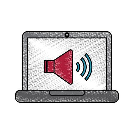 Laptop com som de alto-falante na ilustração em vetor volume tela design Foto de archivo - 90326483
