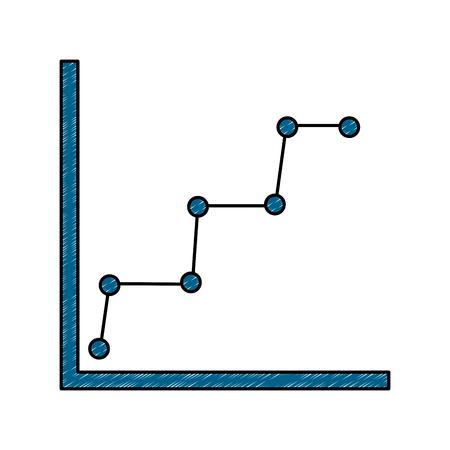 Bedrijfsgrafiekdiagram en statistieken gestippelde lijn symbool vectorillustratie Stock Illustratie