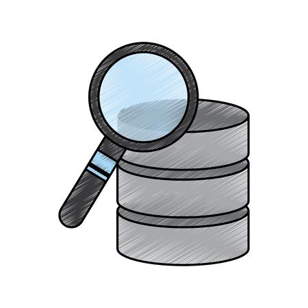 Datacenter proces zoeken analyse apparatuur vector illustratie