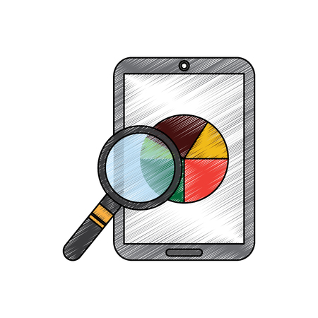 Mobile phone and pie chart statistics magnifier digital vector illustration Illustration