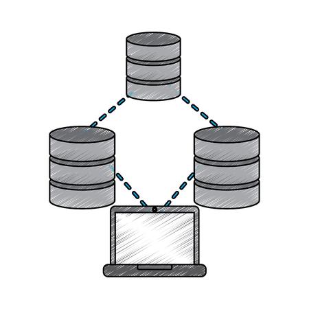 Stockage de connexion de base de données de base de données ordinateur portable et illustration de vecteur de processus Banque d'images - 90303965