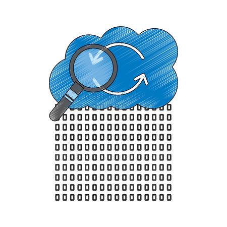 Binaire data cloud opslag hosting zoekcode analyse vectorillustratie