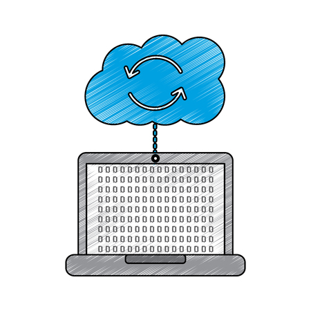 Cloud laptop data connection binary hosting information vector illustration