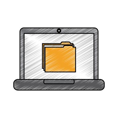 Laptop computer with folder file Illustration