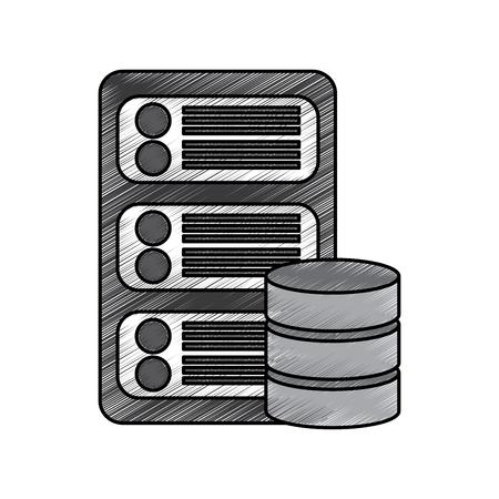 Centre de données icône de base Banque d'images - 90306729