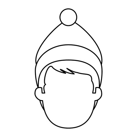 young man head with winter clothes vector illustration design