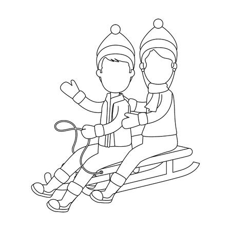 Couple sur la neige traîneau vector illustration design Banque d'images - 90323724