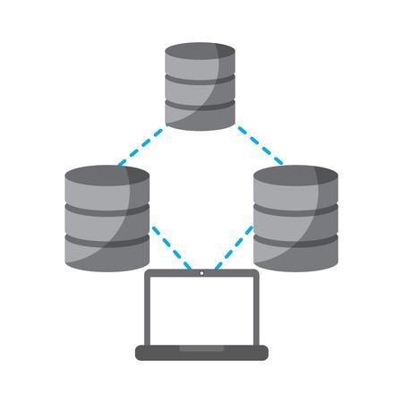 Technologie informatique technologie stockage stockage de stockage de stockage et le processus illustration vectorielle Banque d'images - 90323959
